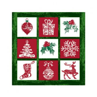 Christmas Cocktail Napkins - Tis the Season Green - 20 ct.