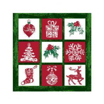 Christmas Cocktail Napkins - Tis the Season Green - 20 ct.