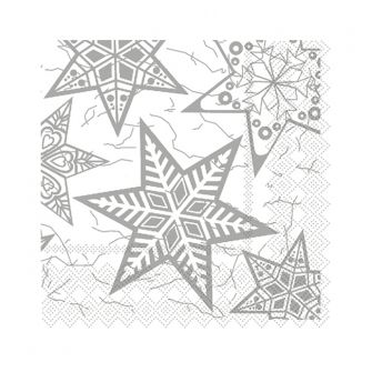 Christmas Cocktail Napkins - Silver Snowflakes - 20 ct.