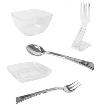 Mini Delights - Appetizer & Dessert Tasting Set - Clear Plastic - 112 pc. Set