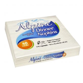 Alpine Dinner Napkins  - Premium Quality - 2-Ply - White - 40 Count