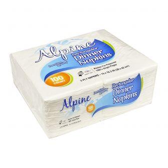 Alpine Rectangular Dinner Napkins - Premium Quality - 2-Ply - White - 100 Count