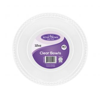 Royal Crown 12 oz. Clear Plastic Bowls - 40 Ct.