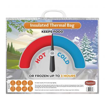 "Plastico Hot & Cold Bags (Thermal Insulated) - Large Size - 16"" x 20"" x 6"""