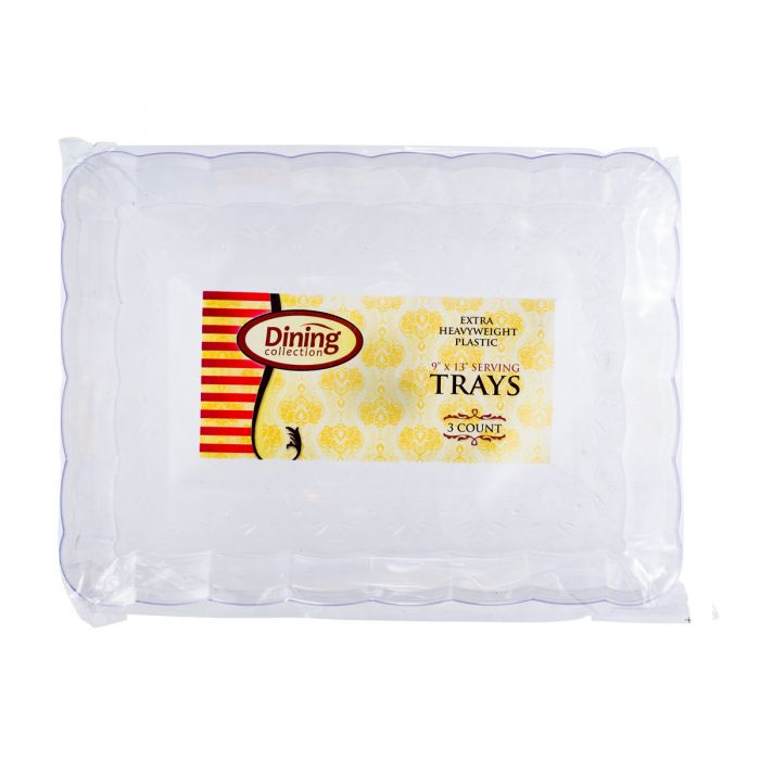 "Dining Collection 9"" x 13"" Serving Tray - Extra Heavyweight - Clear - 3 Ct."