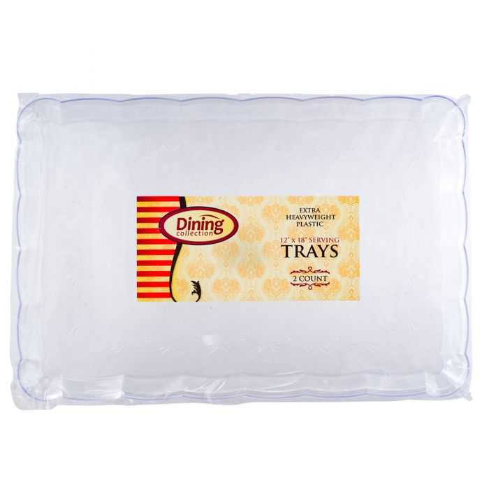 "Dining Collection 12"" x 18"" Serving Tray - Extra Heavyweight - Clear - 2 Ct."