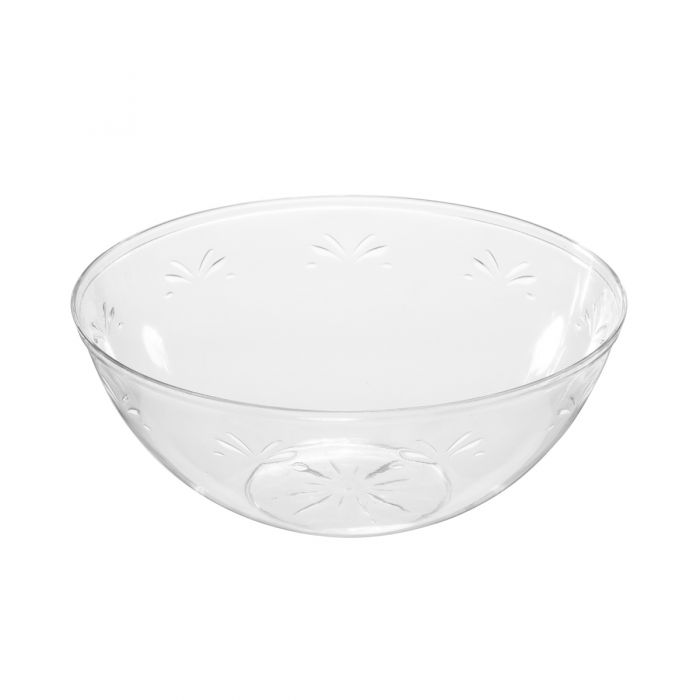 "Embellish 9.5"" Round Serving Bowls (96 oz.) - Clear Plastic - 50 Count"