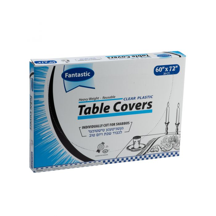 "Fantastic Heavy Weight Table Covers - 60"" x 72""  - Clear - 20 Count"