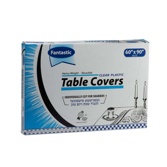 """Fantastic Heavy Weight Table Covers - 60"""" x 90""""  - Clear - 16 Count"""