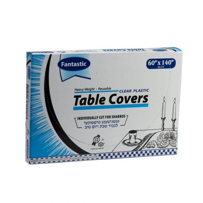 "Fantastic Heavy Weight Table Covers - 60"" x 140""  - Clear - 10 Count"