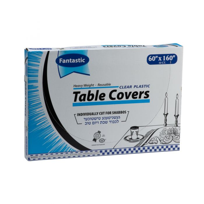 "Fantastic Heavy Weight Table Covers - 60"" x 160""  - Clear - 10 Count"