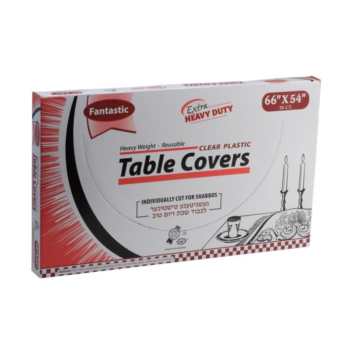"Fantastic Extra Heavy Duty Table Covers - 66"" x 54""  - Clear - 28 Count"