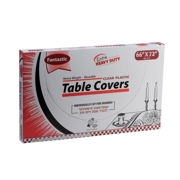 "Fantastic Extra Heavy Duty Table Covers - 66"" x 72""  - Clear - 20 Count"