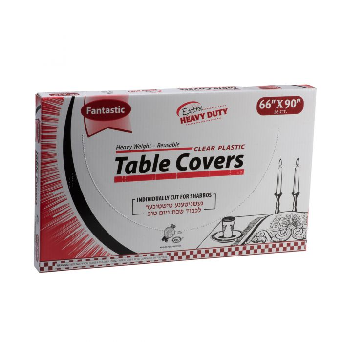 """Fantastic Extra Heavy Duty Table Covers - 66"""" x 90""""  - Clear - 16 Count"""