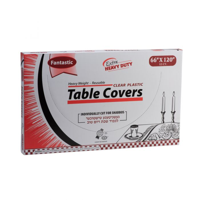 "Fantastic Extra Heavy Duty Table Covers - 66"" x 120""  - Clear - 12 Count"