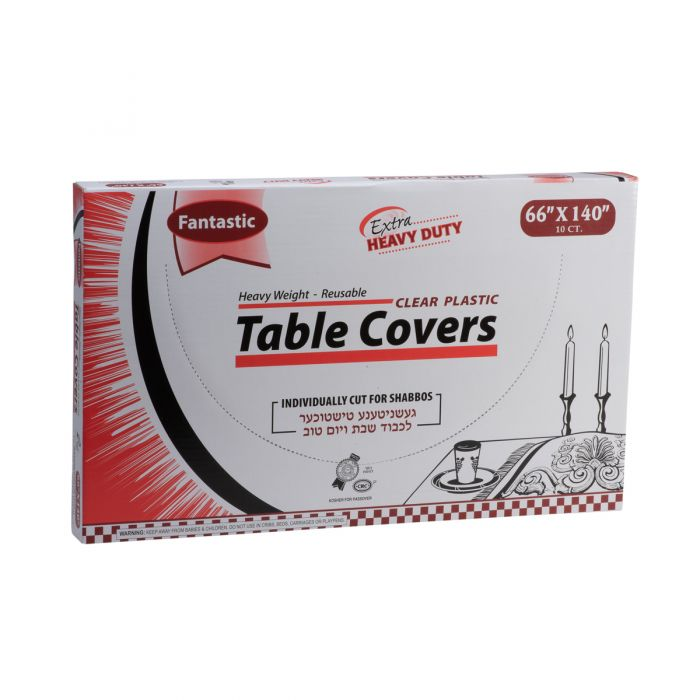 "Fantastic Extra Heavy Duty Table Covers - 66"" x 140""  - Clear - 10 Count"