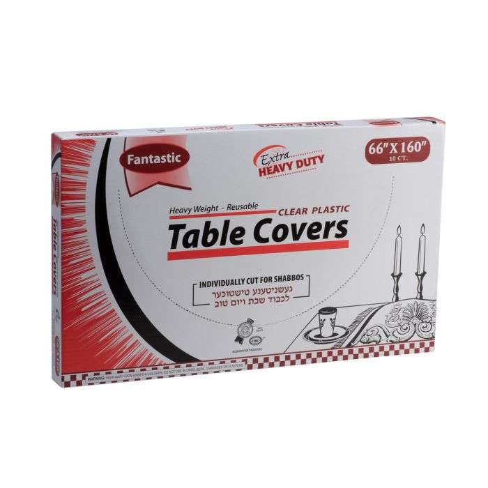 """Fantastic Extra Heavy Duty Table Covers - 66"""" x 160""""  - Clear - 10 Count"""