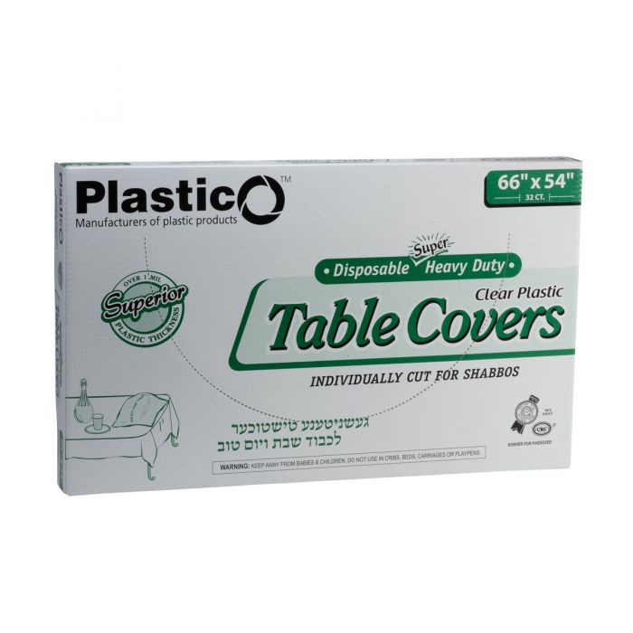"Plastico Super Heavy Duty Table Covers - 66"" x 54"" - Clear - 32 Count"