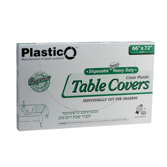 "Plastico Super Heavy Duty Table Covers - 66"" x 72"" - Clear - 24 Count"