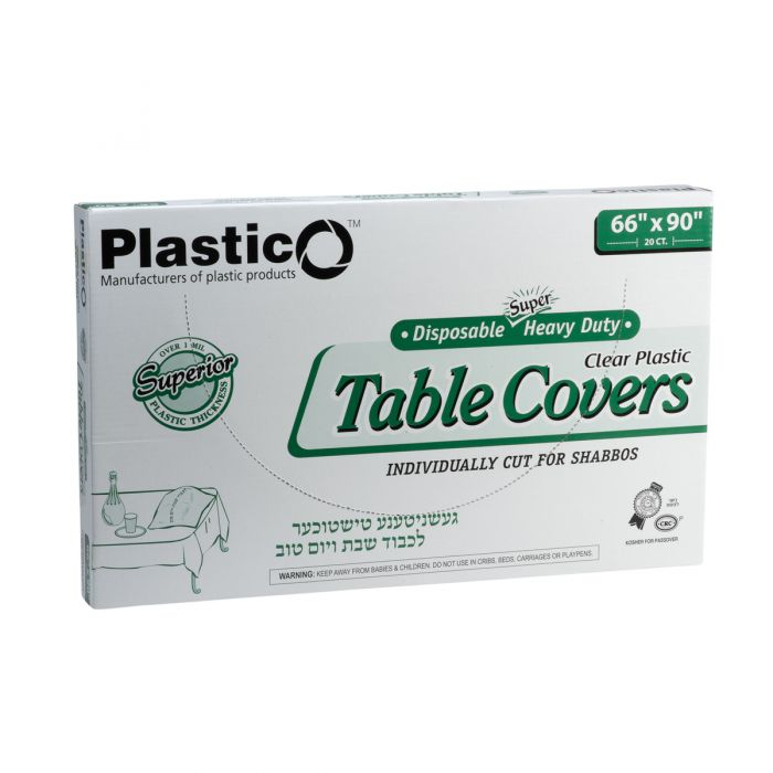 "Plastico Super Heavy Duty Table Covers - 66"" x 90"" - Clear - 20 Count"
