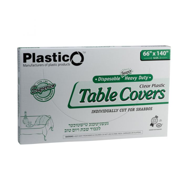 "Plastico Super Heavy Duty Table Covers - 66"" x 140"" - Clear - 12 Count"