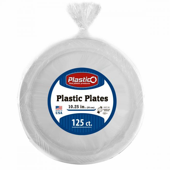 "Plastico 10.25"" Plates - White Plastic - 125 Count"