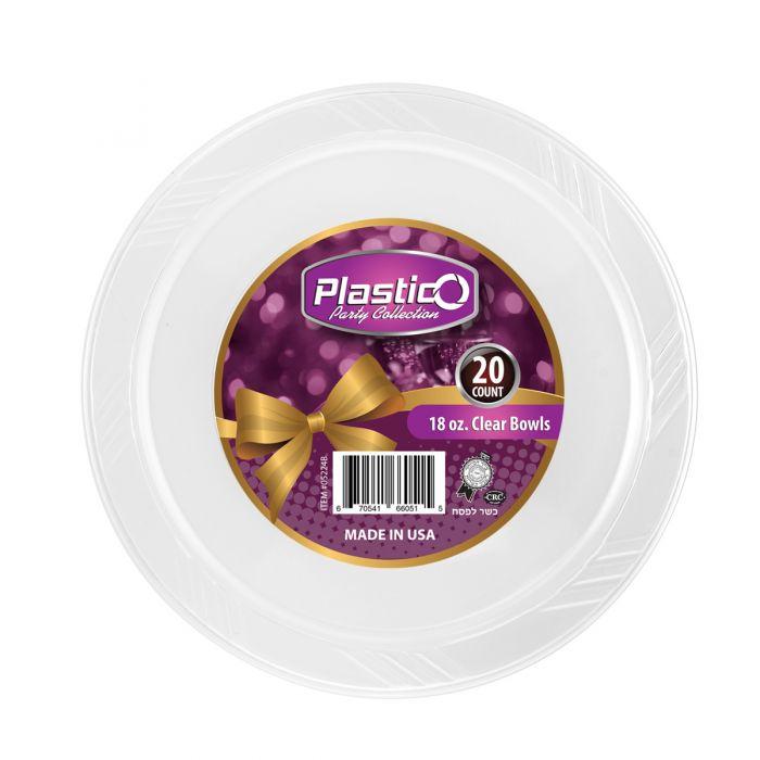 Plastico 18 oz. Bowls - Clear Plastic - 20 Count