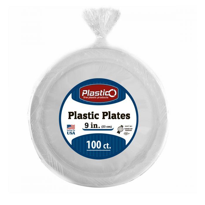 "Plastico 9"" Plates - White Plastic - 100 Count"