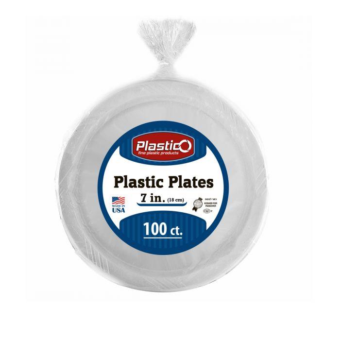 "Plastico 7"" Plates - White Plastic - 100 Count"