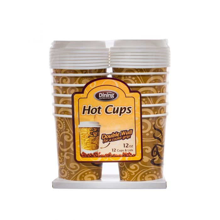 Dining Collection 12 oz. Hot Paper Coffee Cups w/ Lids - 12 Count