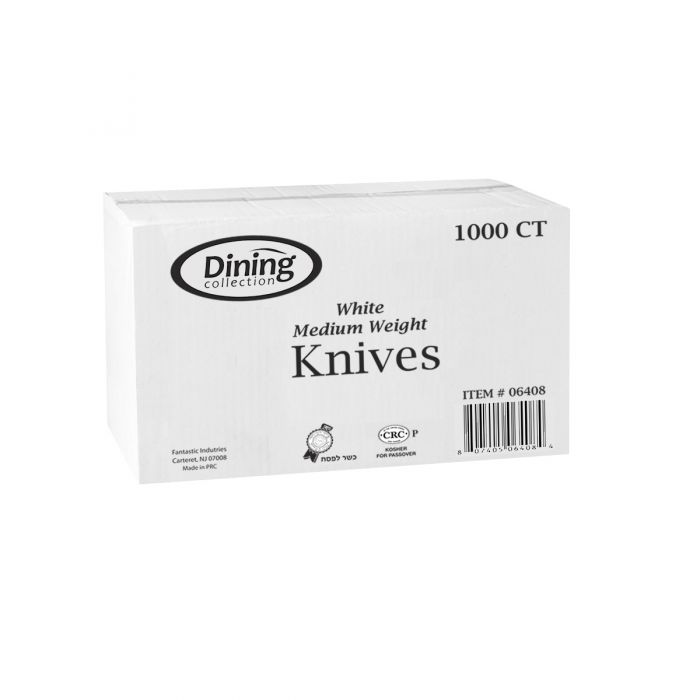 Dining Collection Knives - Medium Weight - White Plastic - 1000 ct.