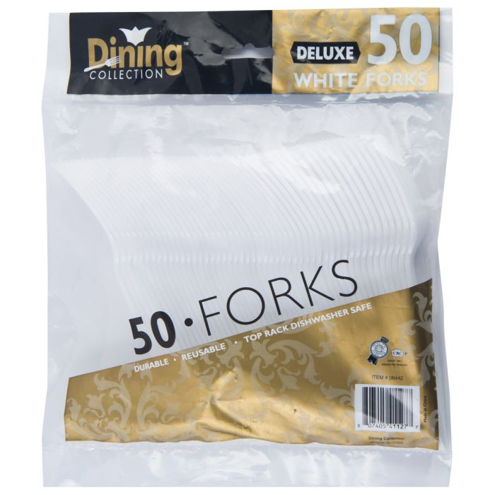 Dining Collection Deluxe Forks - White Plastic - 50 ct.