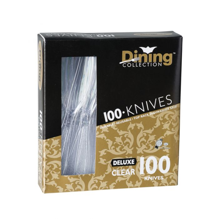 Dining Collection Deluxe Knives (Box) - Clear Plastic -  100 ct.