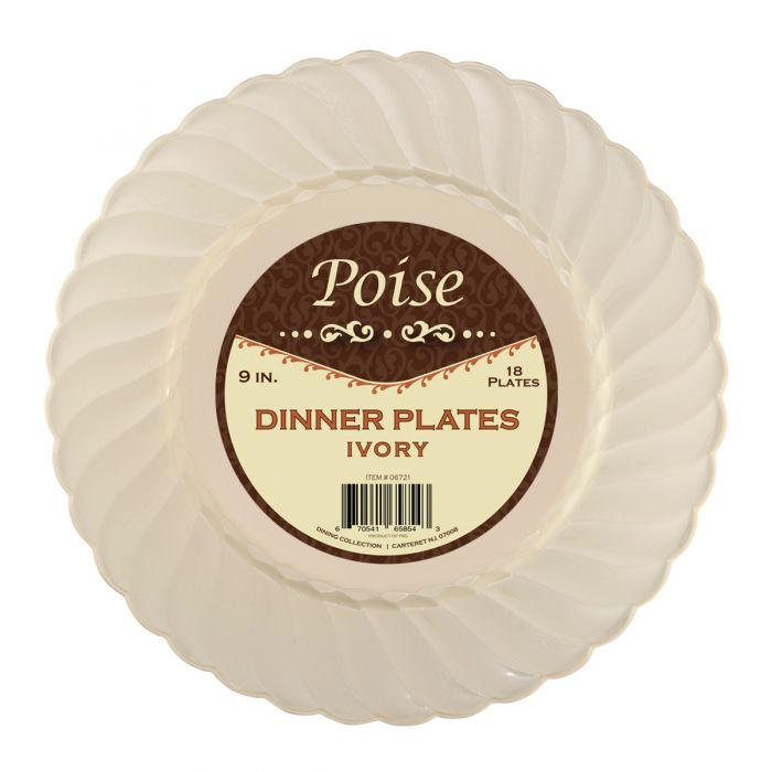 "Poise 9"" Dinner Plates - Ivory Plastic - 18 Count"