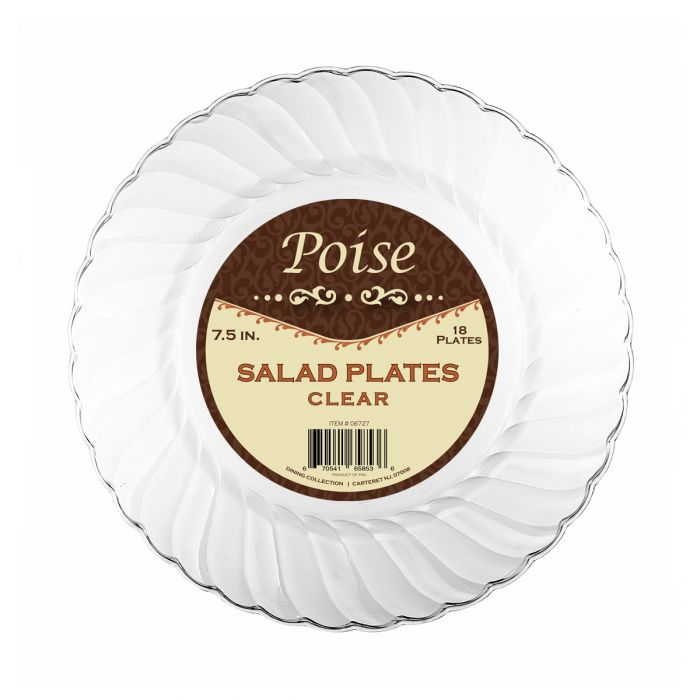 "Poise 7.5"" Salad Plates - Clear Plastic - 18 Count"