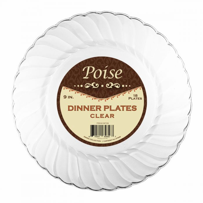 "Poise 9"" Dinner Plates - Clear Plastic - 18 Count"
