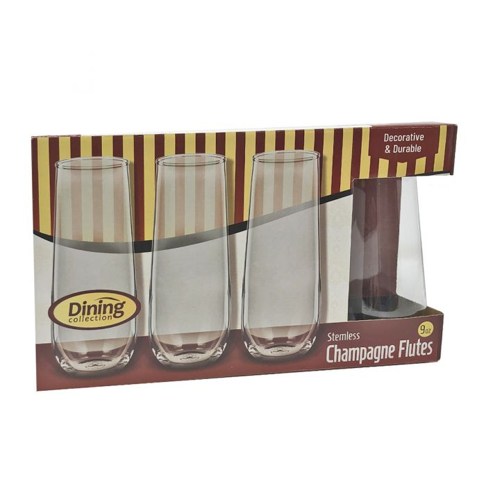 Dining Collection Stemless 9oz. Champagne Flutes - 8 Count