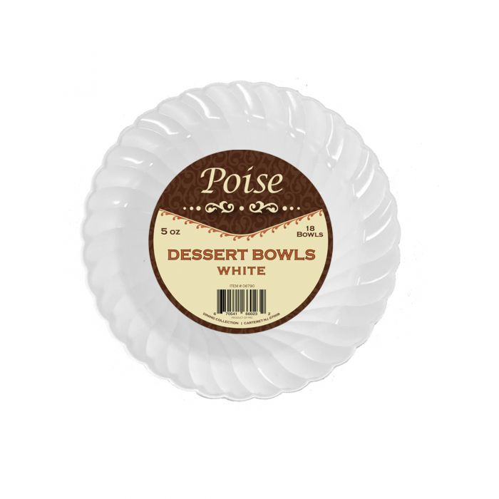 Poise 5 oz. Dessert Bowls - White Plastic - 18 Count