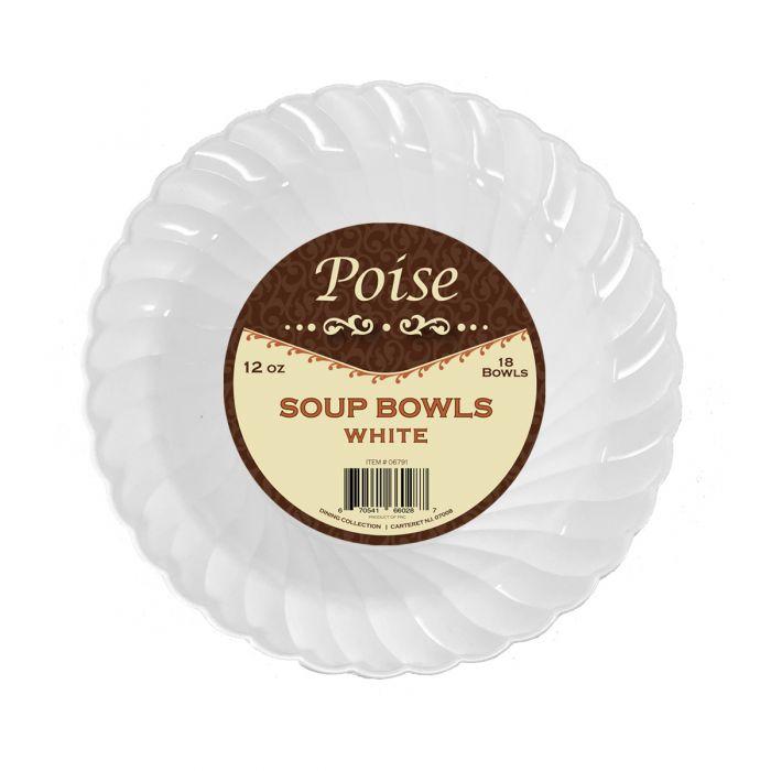 Poise 12 oz. Soup Bowls - White Plastic - 18 Count