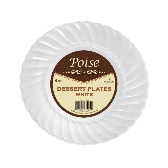 "Poise 6"" Dessert Plates - White Plastic - 18 Count"