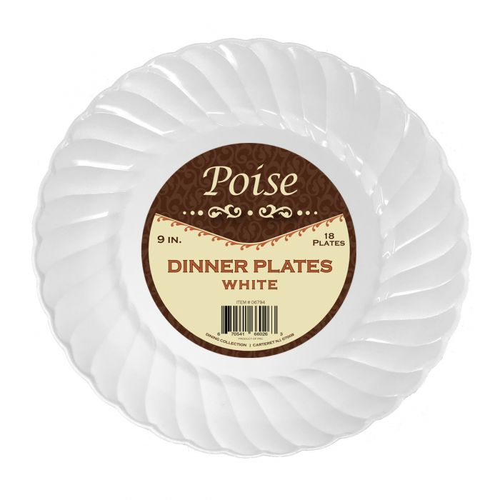 "Poise 9"" Dinner Plates - White Plastic - 18 Count"