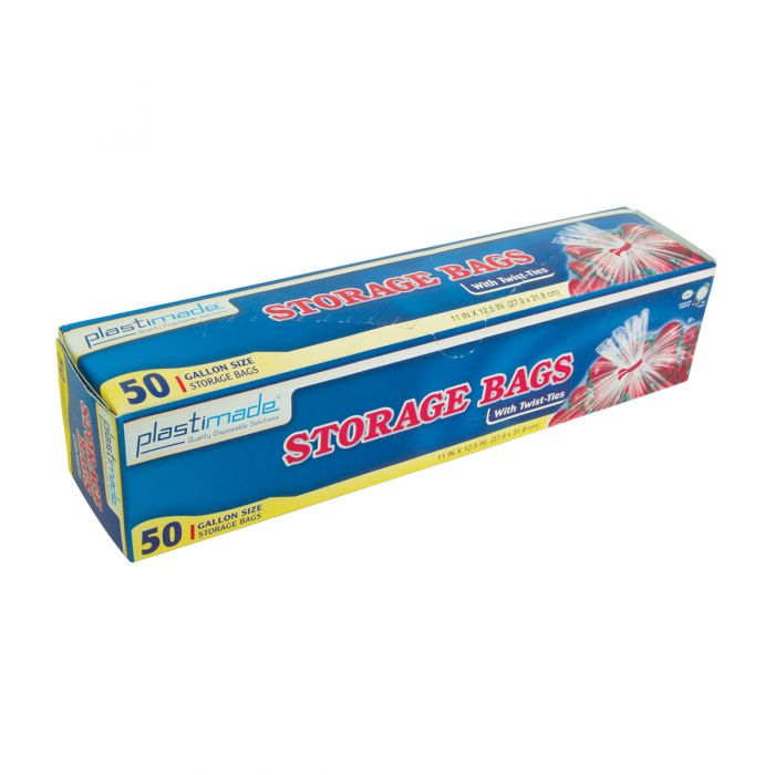 Plastimade Storage Bags w/ Twist Ties - 50 ct.