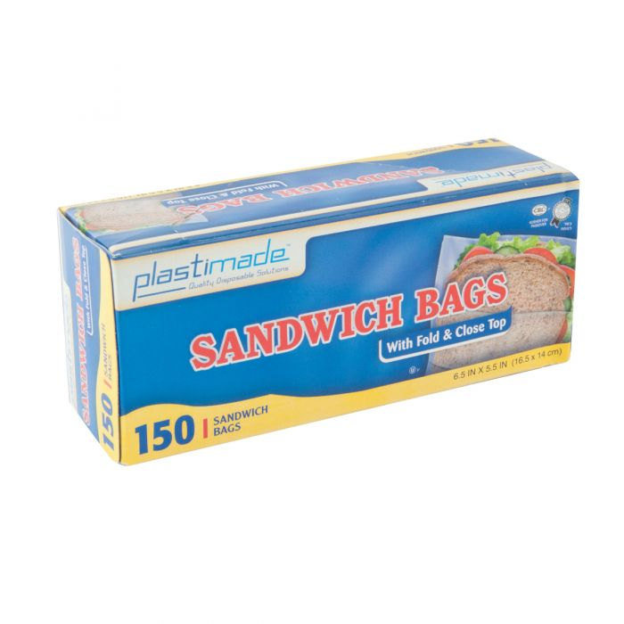 Plastimade Fold & Close Top Sandwich Bags - 150 ct.