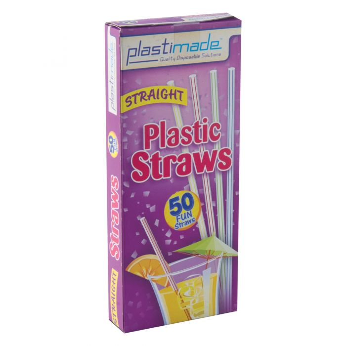 Plastimade Straight Straws (ST2550) - 50 Count