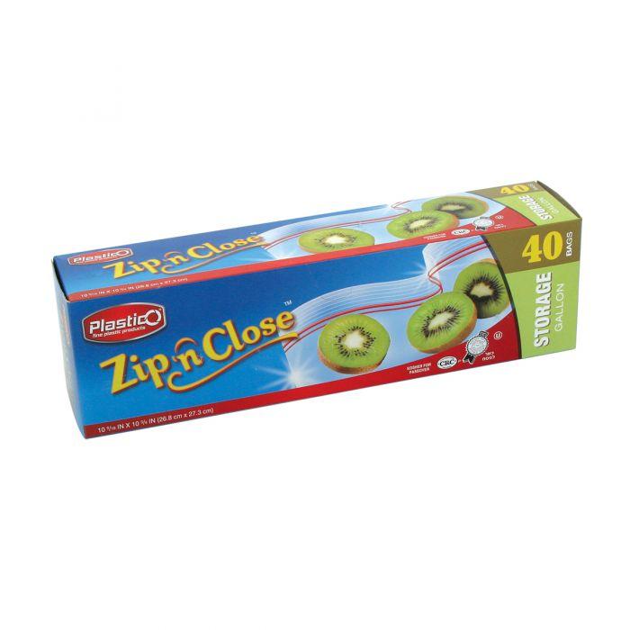 Plastico Zip n' Close Storage Gal. Bags - 40 ct.
