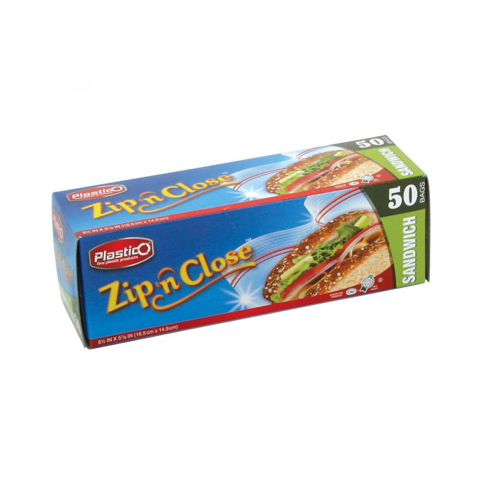 Plastico Zip n' Close Sandwich Bags - 50 ct.