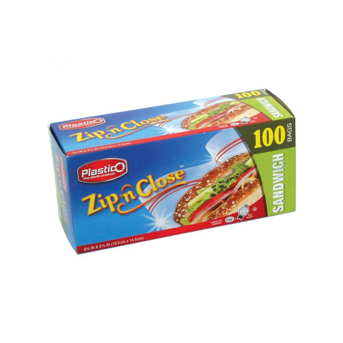 Plastico Zip n' Close Sandwich Bags - 100 ct.