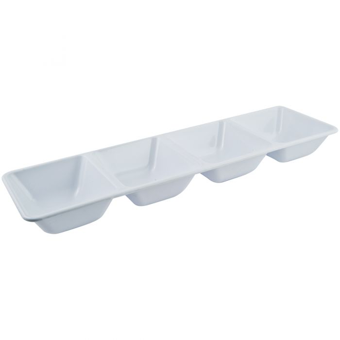 "Dining Collection 16"" x 5"" Rectangular Compartment Platter - White - 4 Section"