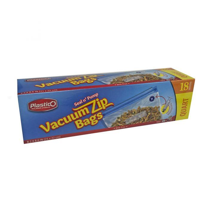 Plastico Vacuum Zip Bags (Quart) - 18 Count