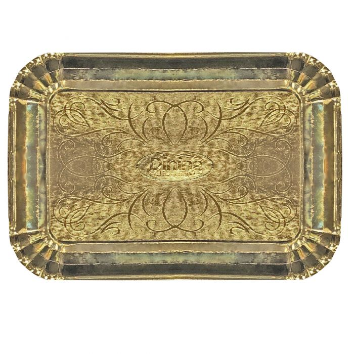 """Dinning Collection 9"""" x 13"""" Paper Serving Tray - Gold"""